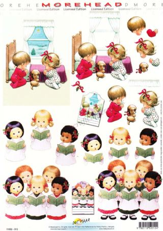 Morehead Carol Singing Children at Christmas 3D Decoupage Sheet